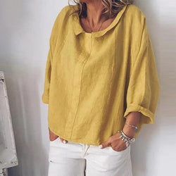 Women Long Sleeve Cotton Linen Casual Lapel Neck Tops Solid Blouse Tops