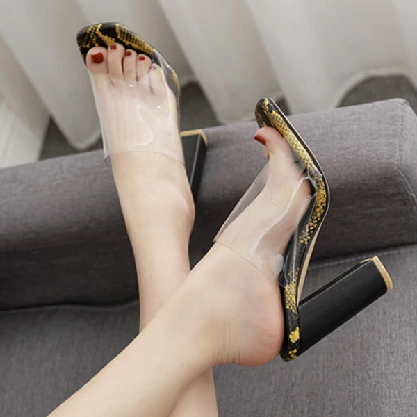 Women PVC Transparent Sandals Mules Slides Square Toe High Heels Sandals