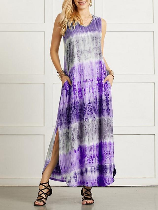 Women's Shift Dress Maxi long Dress - Sleeveless Tie Dye Summer Casual 2020 Black Blue Purple Red Green S M L XL XXL XXXL XXXXL XXXXXL