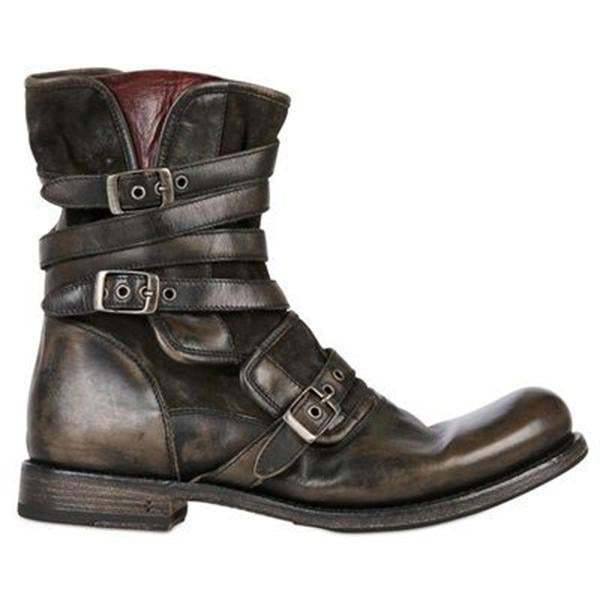 Men's Retro Multiple Buckle Retro Ankle Boots-Black Friday 40% OFF