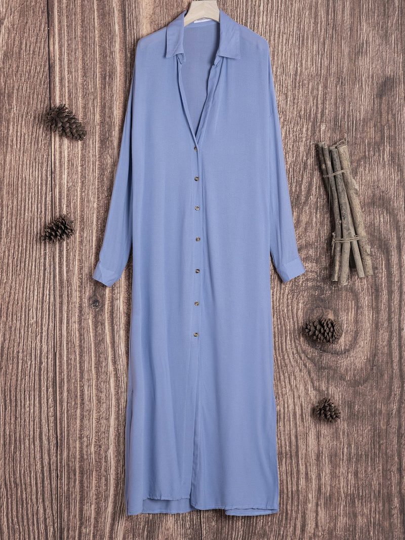 Solid 3/4 Sleeve V Neck Cotton Fall Dresses