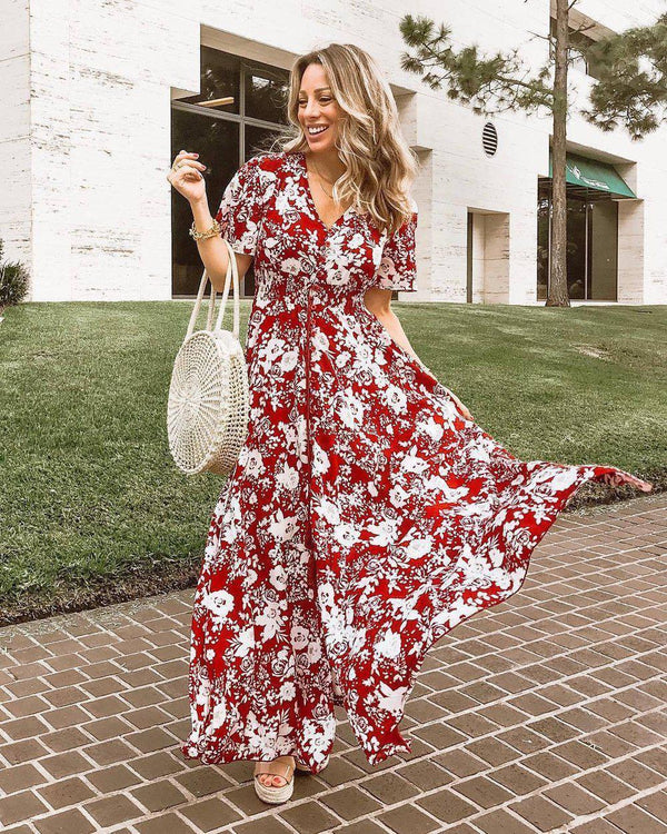 Summer Vacation Floral Print Short Sleeve Maxi Dress