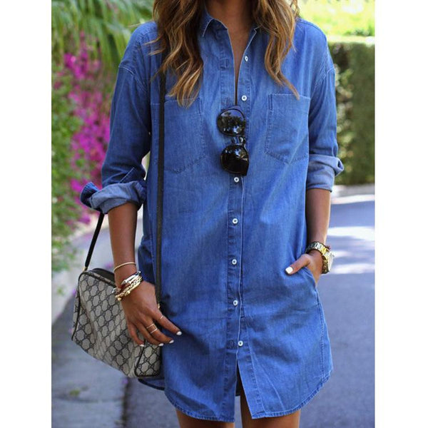 Casual Denim Shirt Female Long-sleeved Plus Size Dress
