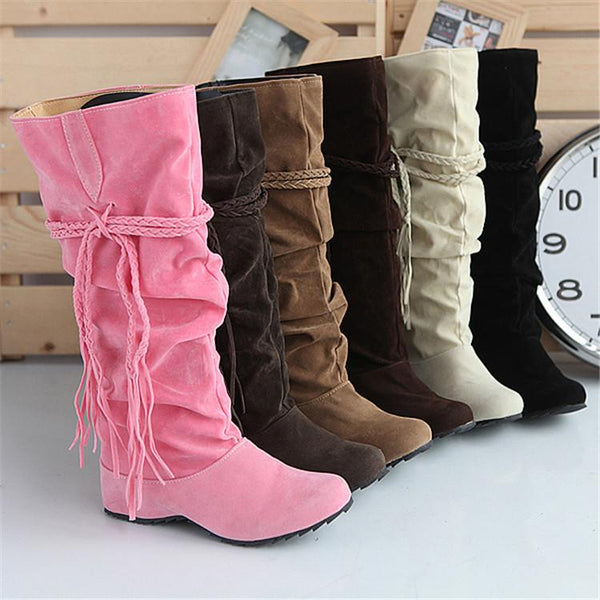 Women's Wedge Heel Ruffles / Knee High Boots Slouch Boots Fall / Winter Black / Pink / Brown
