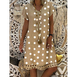 Summer V-Neck Dot Printed Dress