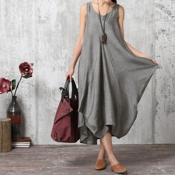 Plus Size Women Maxi Long Dress Sleeveless Irregular Hem Party Sundress