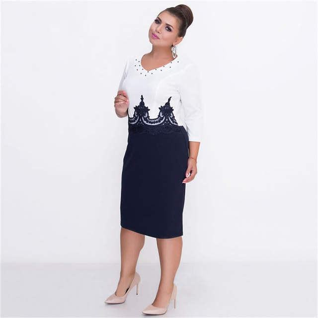 Big Size Patchwork 5XL 6XL Lady Office Work Casual Lace Women Dresses
