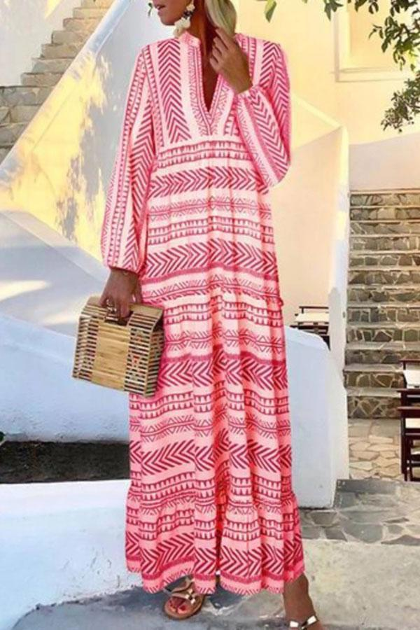 Holiday Striped Geometric Print Paneled V-neck Maxi Dress