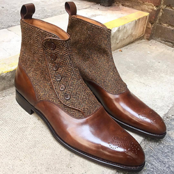 Handmade Elegant Carved Chelsea Button Boots
