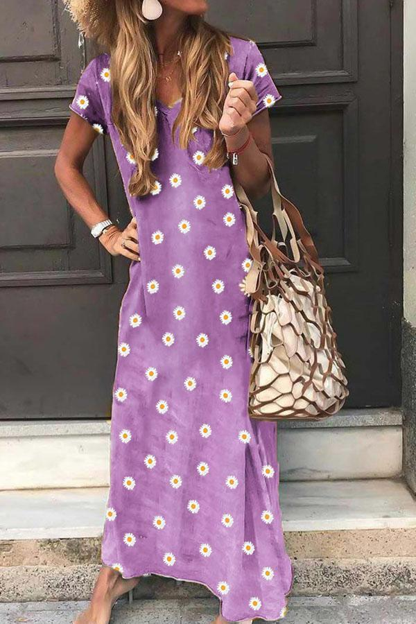 V-neck Daisy Print Short Sleeves Holiday Maxi Dress