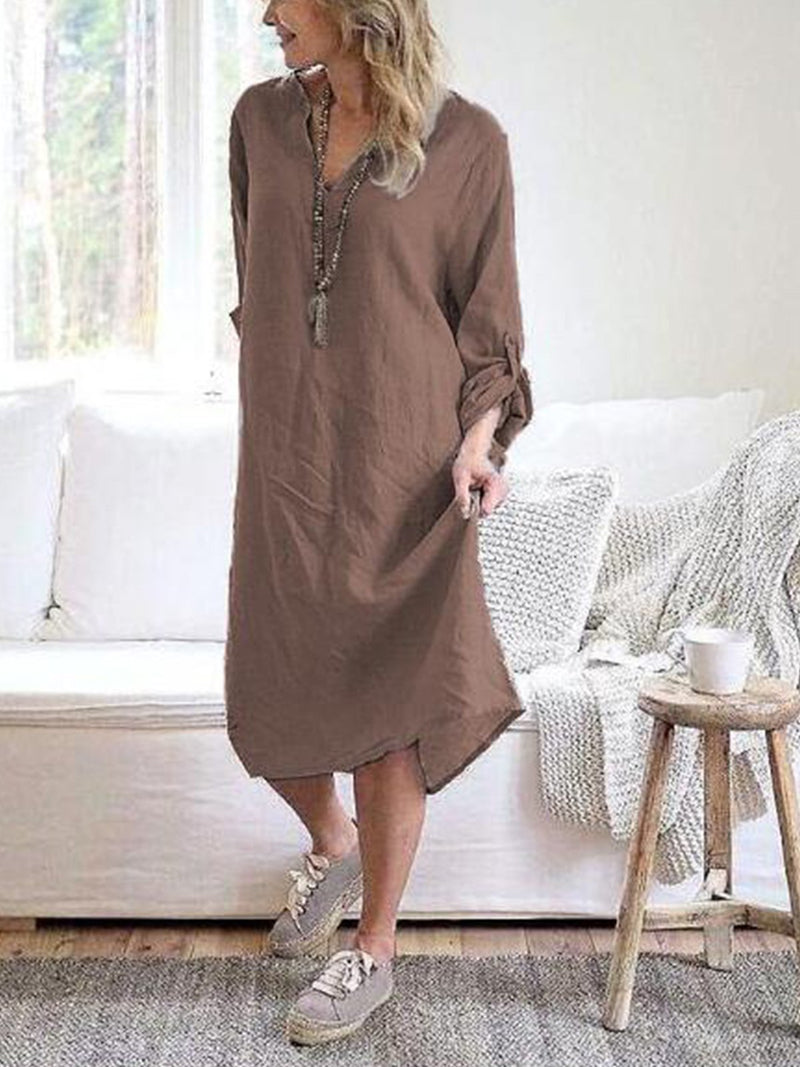 Long Sleeve Vintage Cotton Solid Casualdress