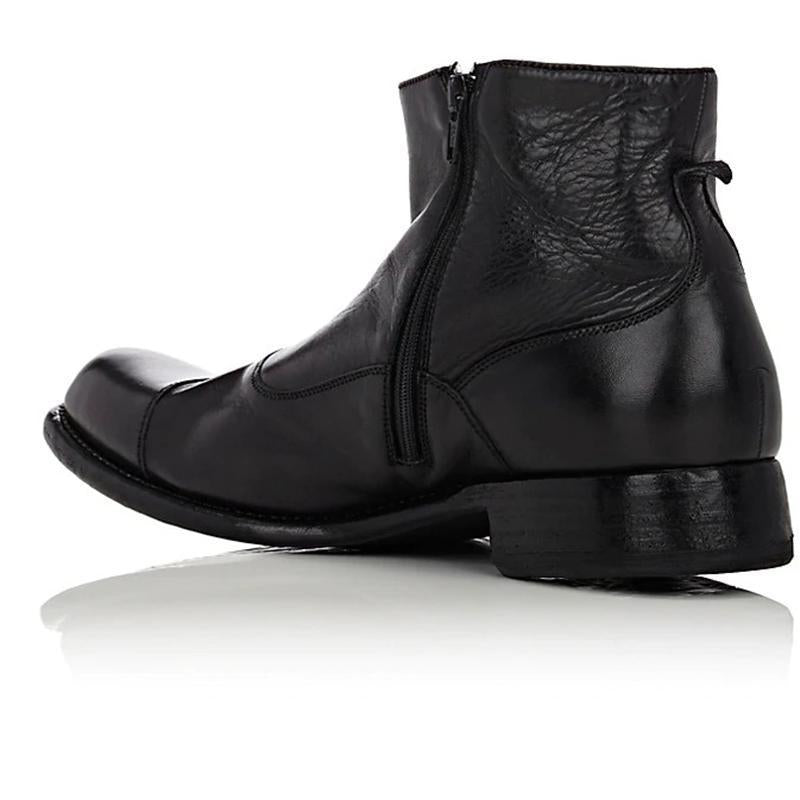 Men's Vintage Button Leather Ankle Boots
