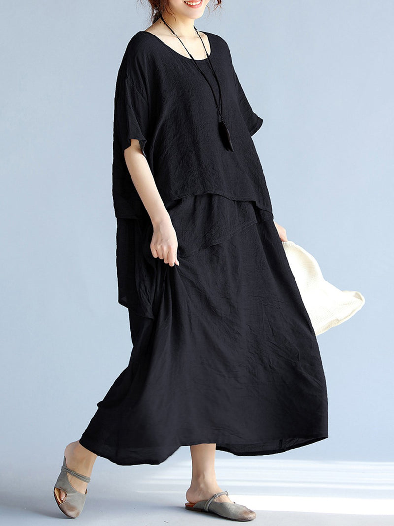 Half Sleeve Solid Casual Casualdress