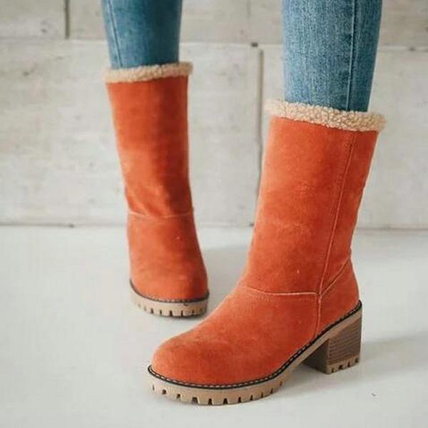 Square Heel Short Plush Snow Boots