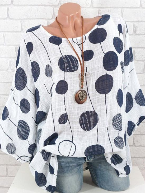 Round-Neck Batwing Sleeve Blouses