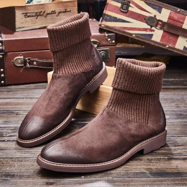 Men's Soft Slip On Suede Leather Ankle Boots