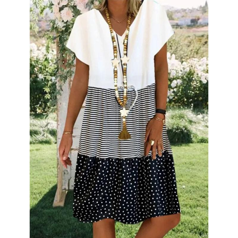 Neck Short Sleeve Cotton-Blend Dresses