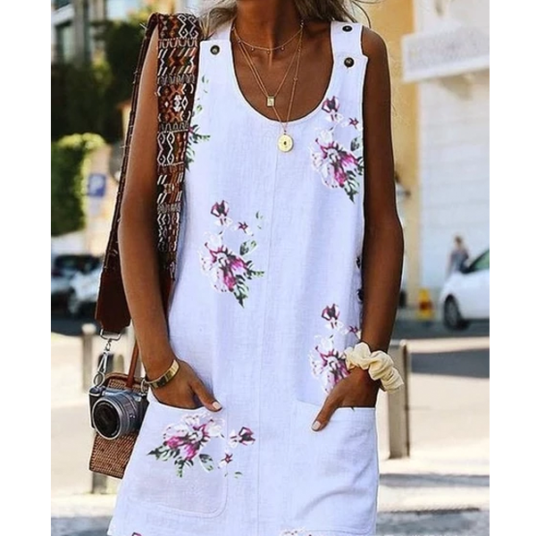 Large Size Women's Dress Floral Print Round Neck Sleeveless Double Pocket Dresses