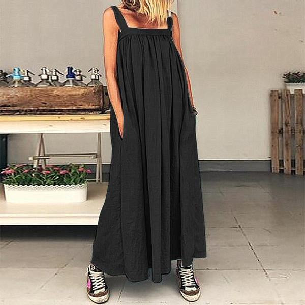 Women Sundress Sleeveless Bohemian Pleated Party Maxi Casual Beach Dress