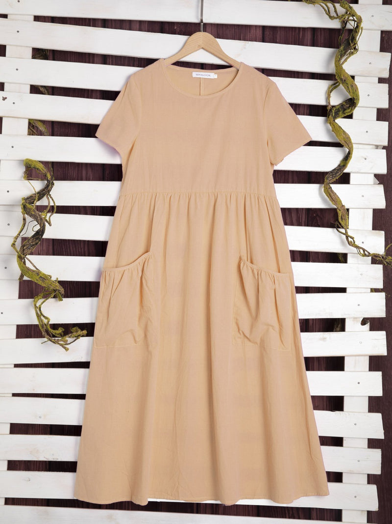 Plus Size Women Short Sleeve   Solid Loose Casual  Midi  Dress