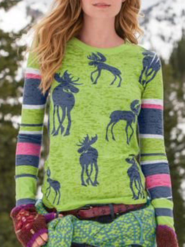 Green Round Neck Casual Long Sleeve Tops