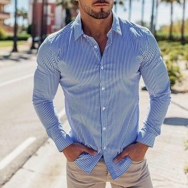 Spring/Autumn Men's Fashion Stripe Single-breasted Shirts
