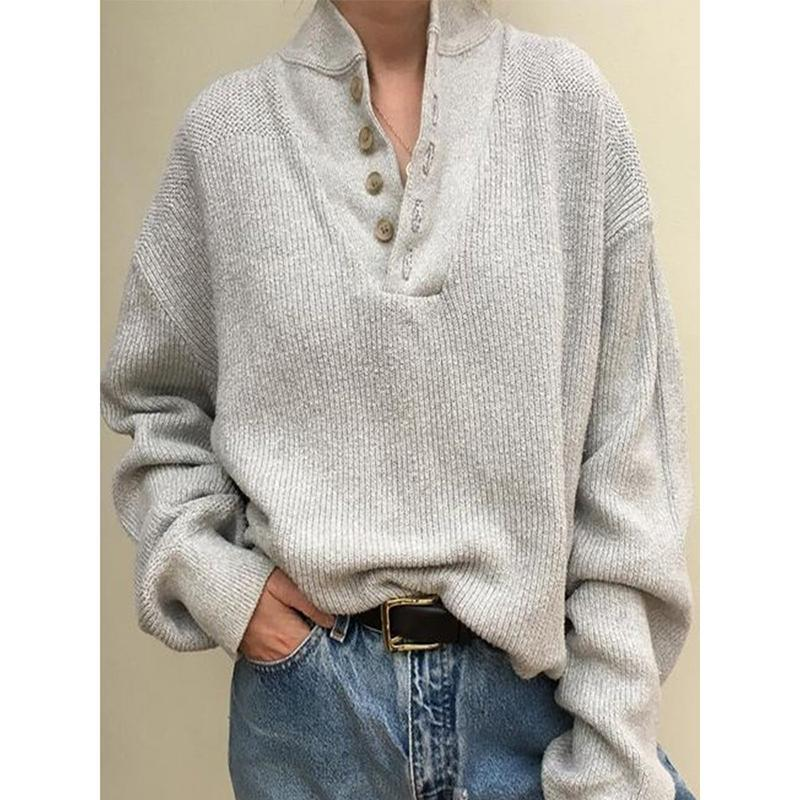 Long Sleeve V-Neck Buttoned Sweater