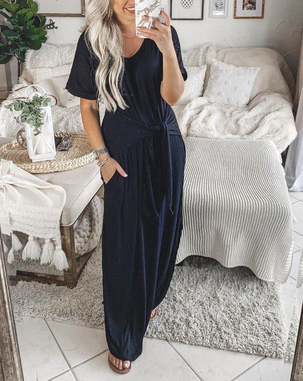 Trendy Scoop Neck Plain Bandage Short Sleeve Maxi Dress
