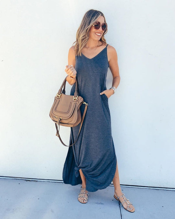 Summer Casual Spaghetti Straps Plain Beach Maxi Dress