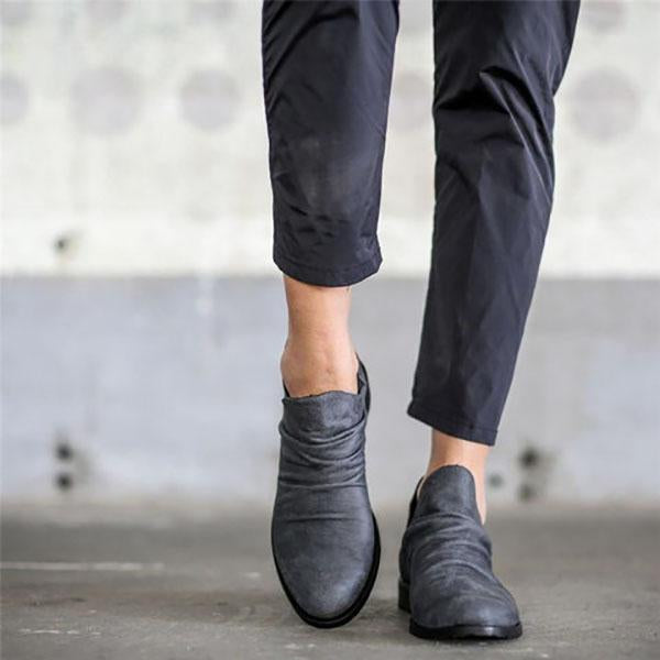Slip-On Low Heel Casual Boots