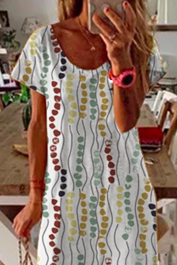 Graphic Print Crew Neck Casual Slit Midi Dress