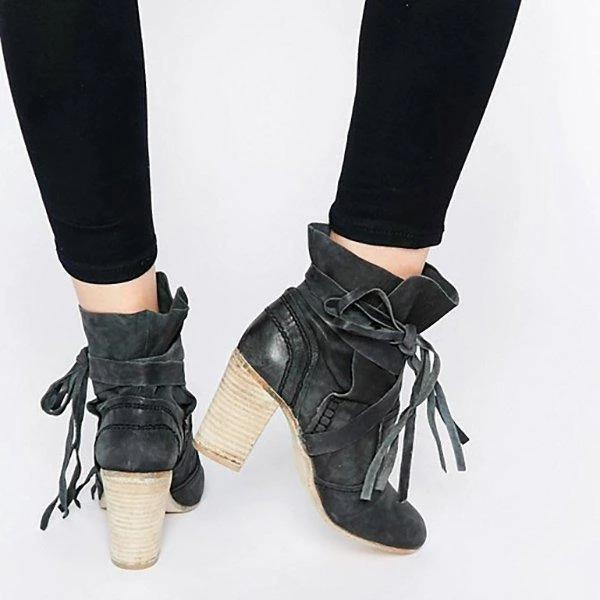 Chunky Heel Martin Boots Outdoor Ankle Boots