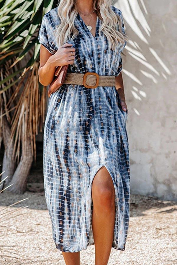 Holiday Gradient Striped Print V-neck Slit Midi Dress