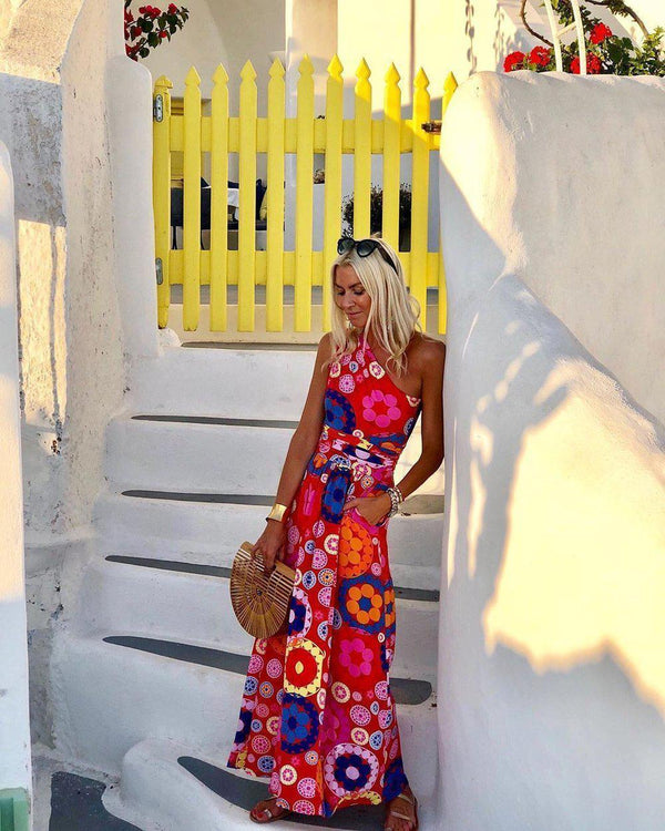 Fashion Floral Printed One Shoulder Maxi Dress