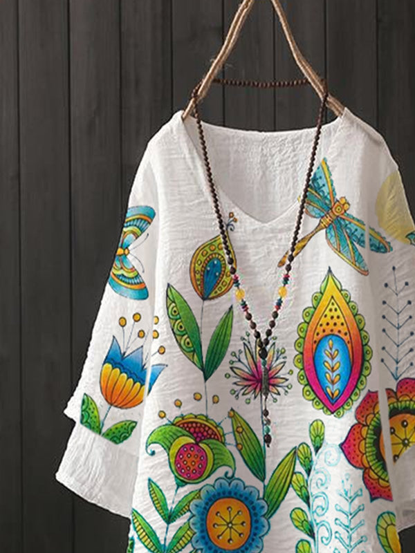 White Floral Pastoral Cotton-Blend Shirts & Tops