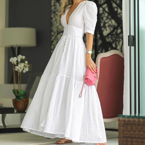Deep V-Neck Solid White Fairy Maxi Dress