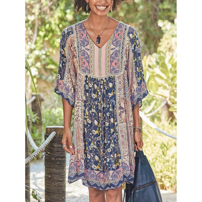 Printed Bohemian V-Neck Short Dress