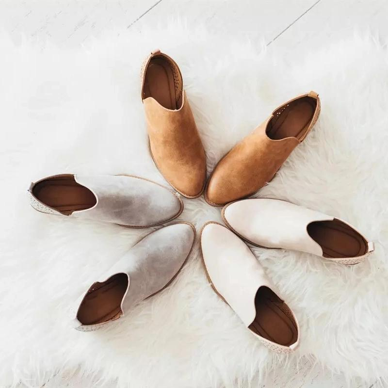 Women's Fashion Middle Heel Ankle Boots