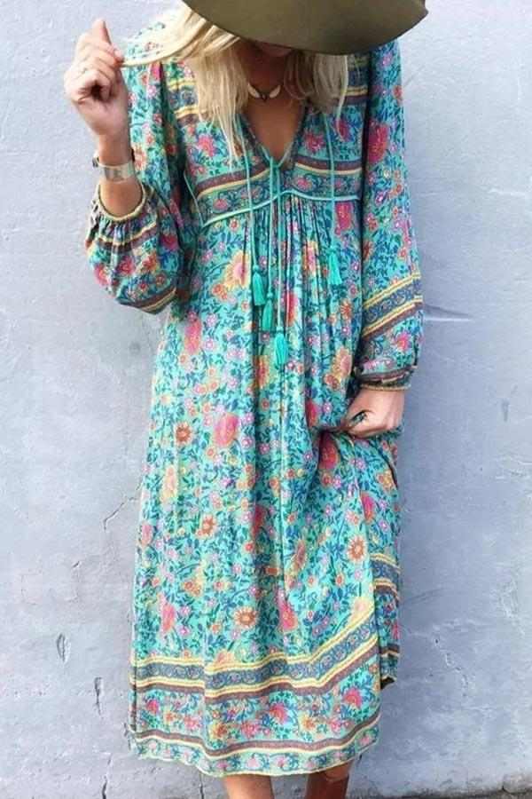 Bohemian Floral Print V-neck Balloon Sleeves Holiday Midi Dress