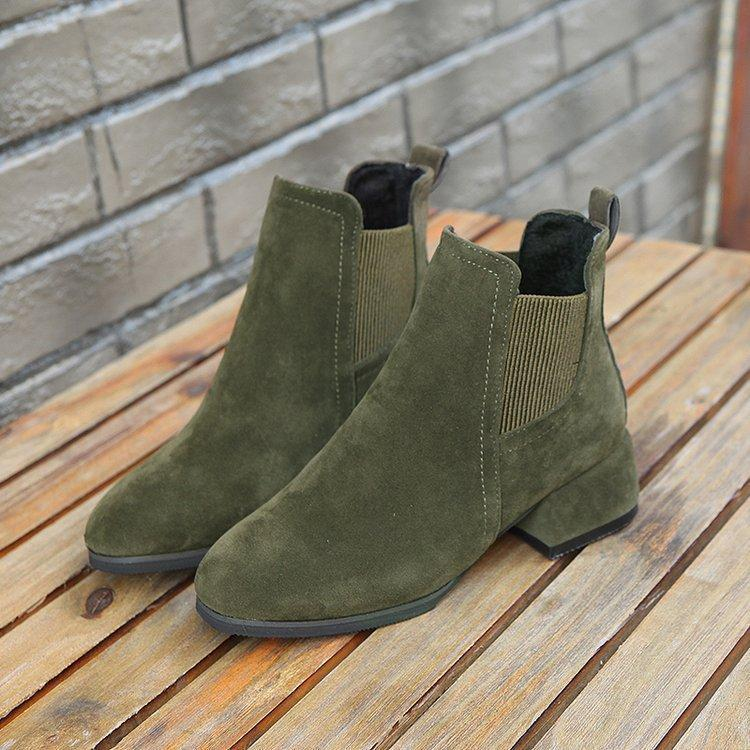Nubuck Suede Round Toe Martin Boots