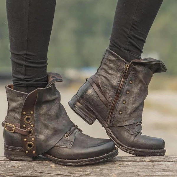 Vintage Zipper Casual Locomotive Style Boots