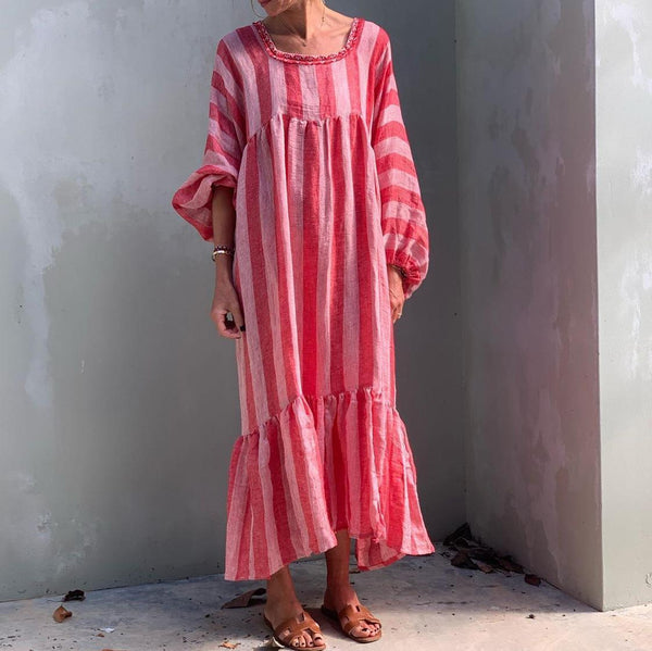 Loose Striped Lantern Sleeve Round Neck Maxi Dress