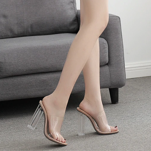 Women PVC Jelly Crystal High Heel Transparent Sandals Mules Slides