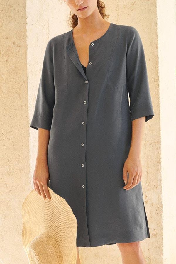 Solid Paneled Buttons Down Half Sleeves Casual Midi Dress