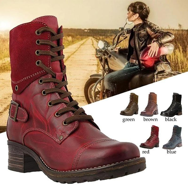 Classic Motorcycle Lace Up Ankle Boots