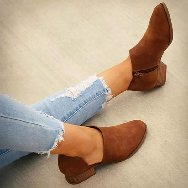 Slip-On Middle Heel Ladies Boots