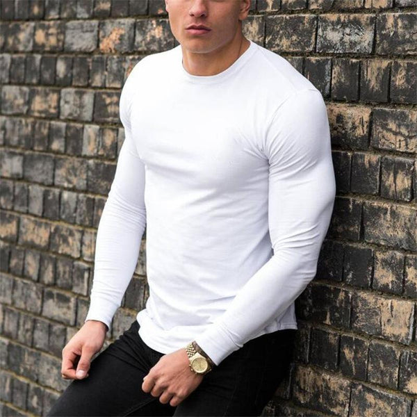 Men's Fashion Casual Round Neck Solid Shirts