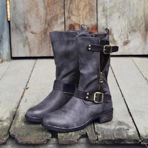 Wide Calf Vintage Mid-calf Boots with Buckle Faux Leather Elastic Band Casual Boots