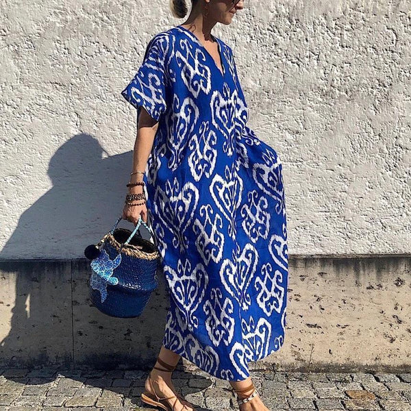 Vintage Blue Print Short Sleeve Maxi Dress