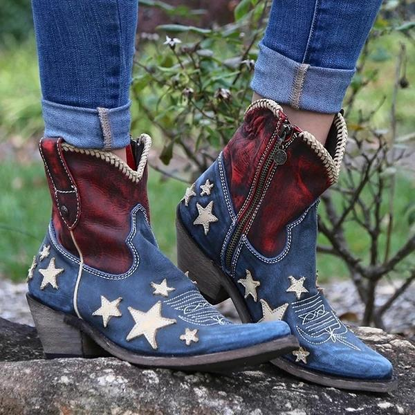 Women's Vintage Pointed Toe Star Short Boots